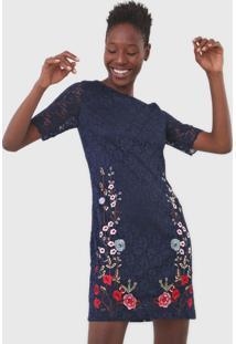 Vestido Desigual Curto Vernis Azul-Marinho - Kanui