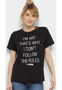Camiseta Forum Frases Feminina - Feminino-Preto