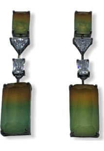 Brinco Narcizza Pêndulo Raiwbow Marrom E Verde - B211(1)3