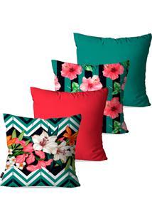 Kit Com 4 Capas Para Almofadas Pump Up Decorativas Turquesa Floral 45X45Cm