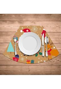 Jogo Americano De Natal Redondo Natal Feliz Kit Com 4 Pã§S - Multicolorido - Dafiti