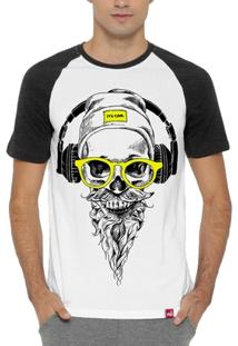 Camiseta Raglan Caveira Sound - Masculino