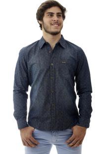 Camisa Laos Jeans Slim Fit Manga Longa Azul Escuro