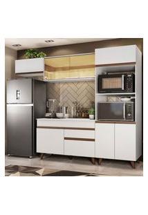 Armário De Cozinha Completa Madesa Reims 260001 Com Balcão E Tampo Branco Branco