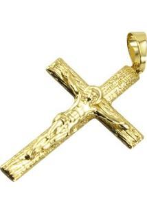 Pingente Cruz Tudo Joias Folheado A Ouro 18K - Unissex-Dourado