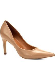 Scarpin Couro Shoestock Salto Alto Bico Fino - Feminino-Bege