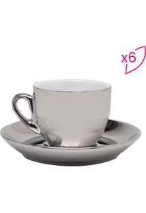 Jogo De Xícaras De Café- Prateado- 6Pçs- 90Ml