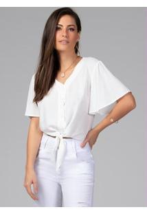 Blusa Cropped Com Amarração Off White