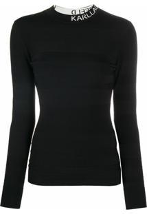 Karl Lagerfeld Blusa Com Gola Alta Ampla De Tricô - Preto