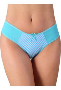 Calcinha Vip Lingerie Em Cotton Liso E Frente Estampada - Calct038 Azul