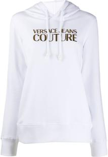 Versace Jeans Couture Moletom De Capuz Com Estampa De Logo E Ajuste Por Cordão - Branco
