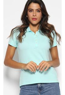 Polo Slim Fit Em Piqu㪠Com Bordado- Azul Claro & Lilã¡Saleatory
