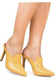 Mule Di Valentini Salto Médio Tânia - Feminino-Amarelo