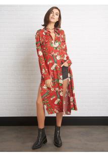Camisa John John Longa Flower Vintage Estampado Feminina (Estampado, M)