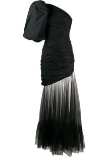 Giuseppe Di Morabito One Shoulder Exaggerated Sleeve Gown - Preto