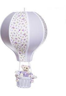 Lustre Balão Grande Com Ursinha Bebê Infantil Menina Potinho De Mel Lilás - Kanui