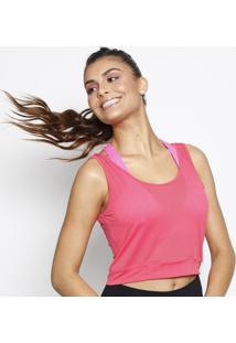Blusa Cropped Com Micro Furos- Rosa Neon- Patrapatra