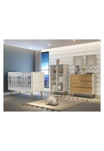 Dormitório Valentina Comoda 3 Gavetas Guarda Roupa Montessoriano Berço Lorena C/ Capitone Carolina Baby Branco/Marrom