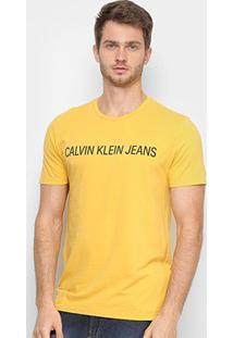 Camiseta Calvin Klein Ckj Masculina - Masculino-Amarelo Escuro
