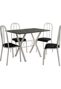 Conjunto De Mesa Miami 4 Cadeiras Branco/Preto Fabone Móveis Tubulares