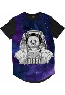 Camiseta Longline Insane 10 Animal Astronauta Urso Panda No Espaço Sublimada Cinza