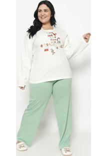 Pijama Manga Longa & Calã§A- Creme & Verde ÁGuasonhart