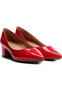 Scarpin Bebecê Salto Baixo Bico Fino Verniz - Feminino-Vermelho