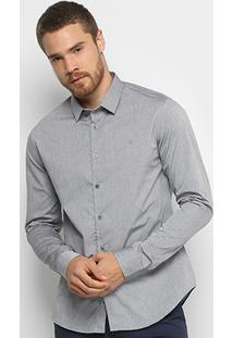 Camisa Calvin Klein Slim Padrao Cannes Simples Masculina - Masculino