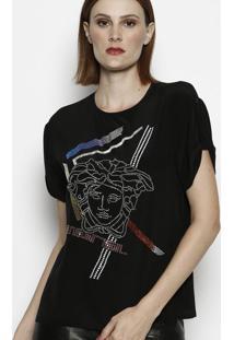 Camiseta Com Termocolantes - Preta & Prateadaversace