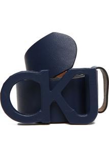Cinto Couro Calvin Klein Logo Metal Azul-Marinho