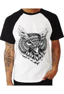 Camiseta Shirt Deads Raglan Coruja Tribal 2 Madboss Branca