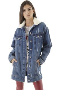 Jaqueta Jeans Com Gola De Pelo Aha