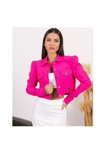 Jaqueta Miss Misses Com Pregas Nas Mangas Rosa Pink