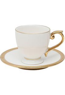 Conjunto 6 Xícaras Para Café Com Pires De Porcelana Wolff 90 Ml – Linha Paddy