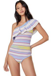 Body Amaro Babados Um Ombro Sã³ Listras Lilã¡S C/ Azul - Multicolorido - Feminino - Dafiti