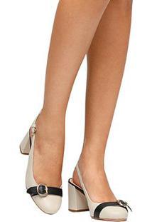 Scarpin Couro Shoestock Fivela Salto Grosso - Feminino-Off White+Preto