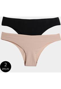 Kit Calcinha Tanga Trifil Sem Costura 2 Peças - Feminino-Preto+Bege
