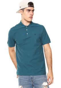 Camisa Polo Volcom Reta Onetone Azul