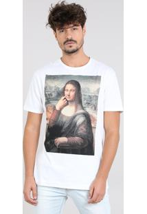 Camiseta Masculina Mona Manga Curta Gola Careca Branca