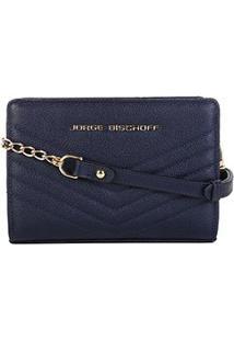 Bolsa Couro Jorge Bischoff Mini Bag Matelassê Feminina - Feminino-Marinho