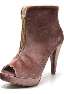 Ankle Boot Flor Da Pele Veludo Nude