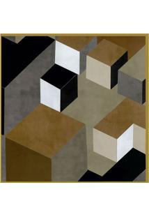 Quadro Decorativo Geomã©Trico- Dourado & Marrom Claroarte Prã³Pria