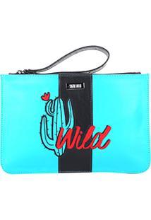 Bolsa Clutch Santa Lolla Cacto Wild Feminina - Feminino-Azul
