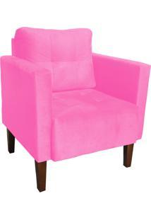 Poltrona Decorativa Lívia Para Sala E Recepção Suede Rosa Barbie - D'Rossi