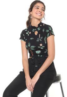 Blusa Dress To Jardins Preta/Verde