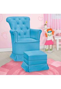 Poltrona Amamentação Paola Com Balanço E Puff Corino Azul - Confortável