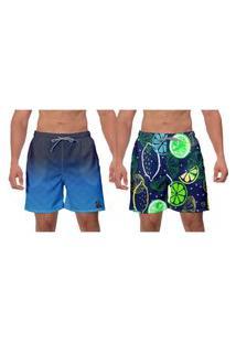 Kit 2 Shorts Moda Praia Azul Estampado Lemon Caminhada Banho Água Esporte W2