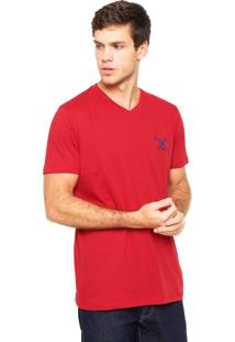Camiseta Polo Play Bordado Vermelha