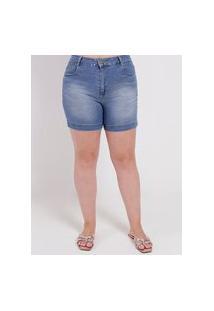 Short Jeans Sawary Plus Size Feminino Azul