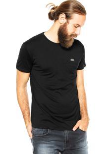 Camiseta Lacoste Bordado Preta